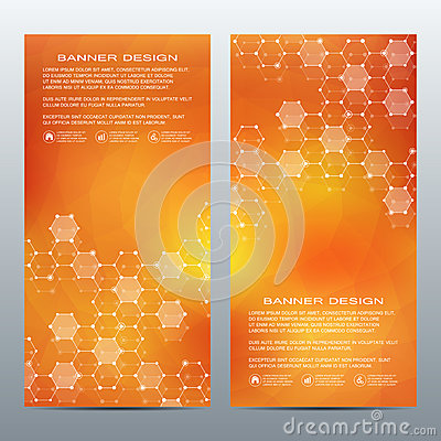 Free Set Of Modern Vertical Scientific Banners. Molecule Structure Of DNA And Neurons. Abstract Background. Medicine, Science Stock Images - 89208804