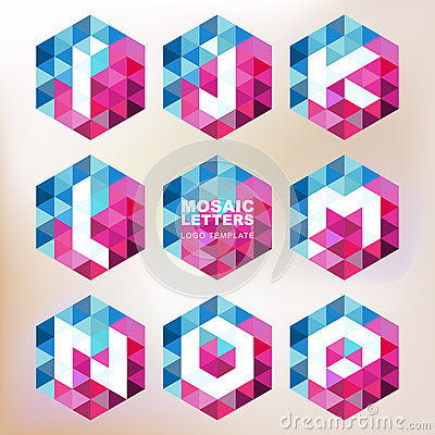Free Set Of Mosaic Letter Icons. Geometric Logo Design Template. Corp Stock Image - 49502171