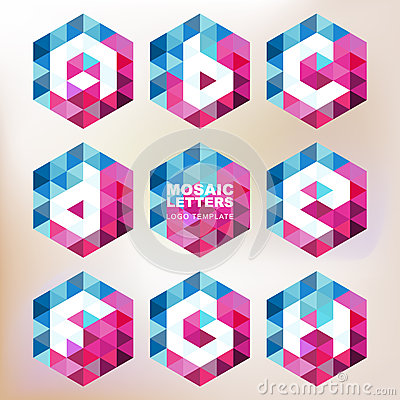 Free Set Of Mosaic Letter Icons. Geometric Logo Design Template. Corp Stock Photo - 49502610
