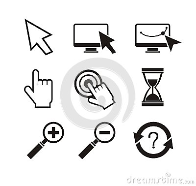 Free Set Of Mouse Cursors Hand Cursor Hourglass Royalty Free Stock Photo - 48032755