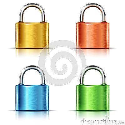 Free Set Of Multicolored Closed Padlocks Royalty Free Stock Photos - 49517608
