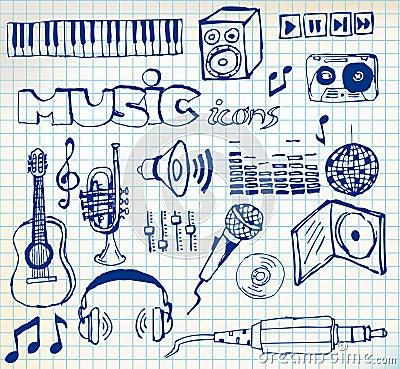 Free Set Of Music Hand-drawn Icons Royalty Free Stock Image - 13104556