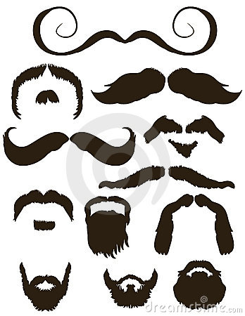 Free Set Of Mustache And Beard Silhouettes Royalty Free Stock Image - 15489046