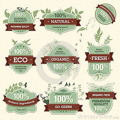 Free Set Of Natural Premium Quality Labels Royalty Free Stock Photo - 21624645