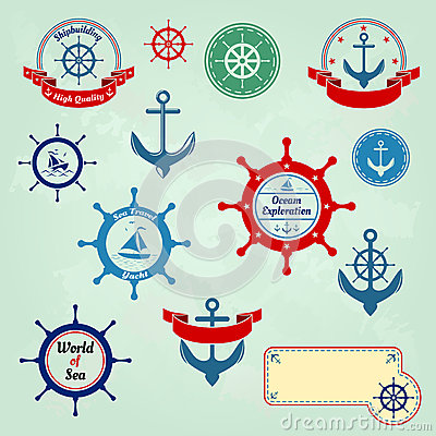 Free Set Of Nautical Badges And Labels Logo Stock Photo - 28708070