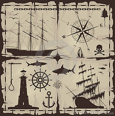 Free Set Of Nautical Design Elements Royalty Free Stock Photography - 19126787
