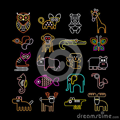 Free Set Of Neon Animal Icons Royalty Free Stock Images - 42641929
