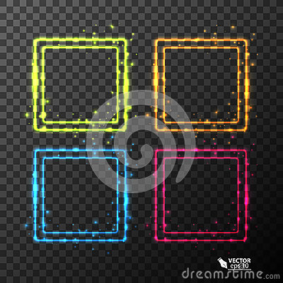 Free Set Of Neon Frames With Different Color Stock Photos - 98262133