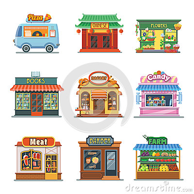 Free Set Of Nice Showcases Shops. Pizza, Bakery, Candy Stock Images - 75481464