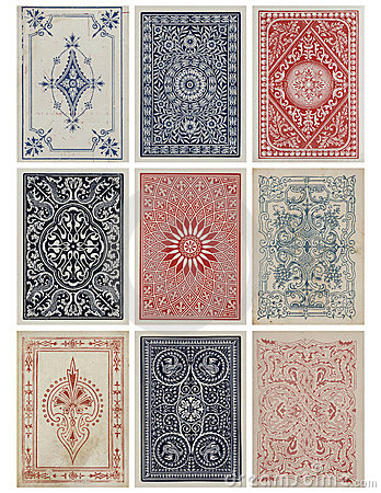Free Set Of Nine Antique Vintage Playing Card Backs. Stock Photo - 17296490