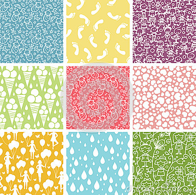 Free Set Of Nine Kiddie Things Seamless Patterns Royalty Free Stock Photo - 31812755