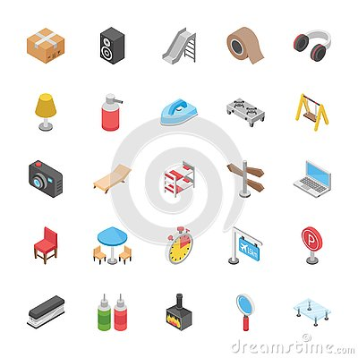 Free Set Of Objects Icons Royalty Free Stock Photography - 132073917