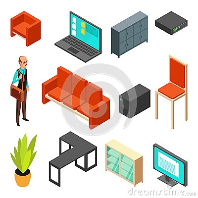 Free Set Of Office Isometric Icons. Sofa, Chair, Armchair, System Unit, Router Royalty Free Stock Image - 102528906