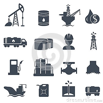 Free Set Of Oil And Gas Grey Icons Petroleum Industry Stock Photography - 45267132