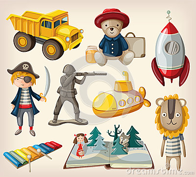 Free Set Of Old-fashioned Toys Royalty Free Stock Photo - 36684085