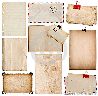 Free Set Of Old Paper Sheets, Book, Envelope, Photo Frame With Corner Stock Photos - 54440033