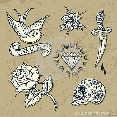 Free Set Of Old School Tattoo Elements Stock Photography - 32866002