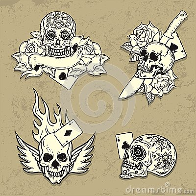 Free Set Of Old School Tattoo Elements Royalty Free Stock Photography - 32866007