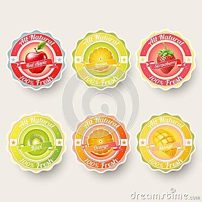 Free Set Of Orange, Lemon, Strawberry, Kiwi, Apple, Mango Juice,smoothie, Milk, Cocktail And Fresh Labels Splash. Stock Images - 75020844