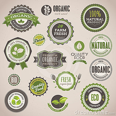 Free Set Of Organic Badges And Labels Royalty Free Stock Photos - 24610828