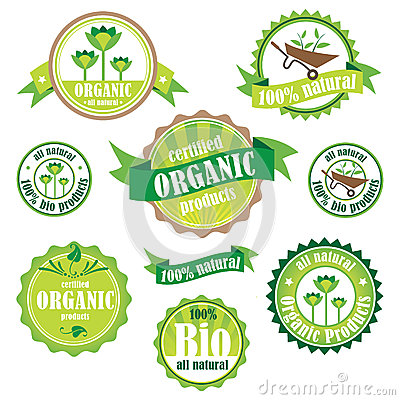 Free Set Of Organic / Bio / Natural Logos And Badges Stock Photography - 42575492