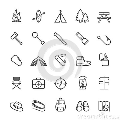 Free Set Of Outline Stroke Camping Icon Royalty Free Stock Photo - 42871585