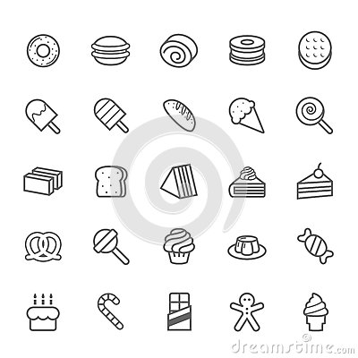 Free Set Of Outline Stroke Dessert And Sweet Icon Royalty Free Stock Photos - 40564638