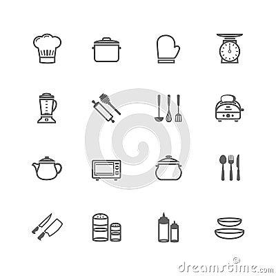 Free Set Of Outline Stroke Kitchenware Icon Stock Photo - 40564970