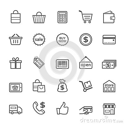Free Set Of Outline Stroke Shopping Icon Stock Image - 41209991
