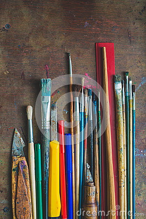 Free Set Of Paint Brushes And Office Supplies Stock Photos - 31879783
