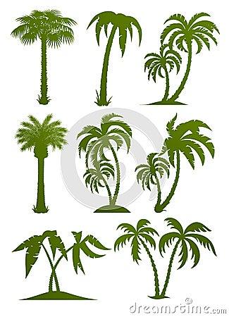 Free Set Of Palm Tree Silhouettes Stock Image - 18766351