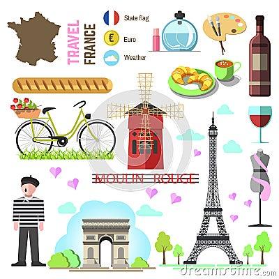 Free Set Of Paris French Symbols And Landmarks. France Vector Illustr Stock Photo - 80241660
