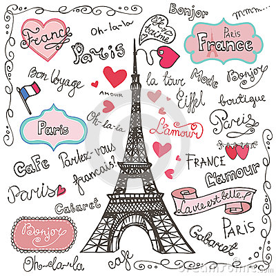 Free Set Of Paris Symbols,lettering.Hand Drawn Doodle Stock Photography - 49916912