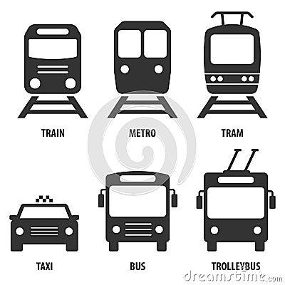 Free Set Of Passenger Transport Vector Icons: Train, Metro, Bus, Trol Stock Images - 107608194