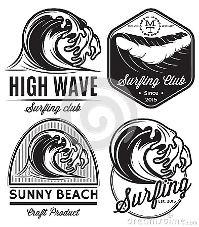 Free Set Of Patterns For Design Logos On The Theme Of Water, Surfing, Ocean, Sea Stock Image - 51028971