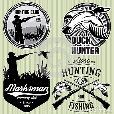 Free Set Of Patterns With Duck, Dip, Gun, Hunter For Hunting Emblem Royalty Free Stock Photography - 56525087