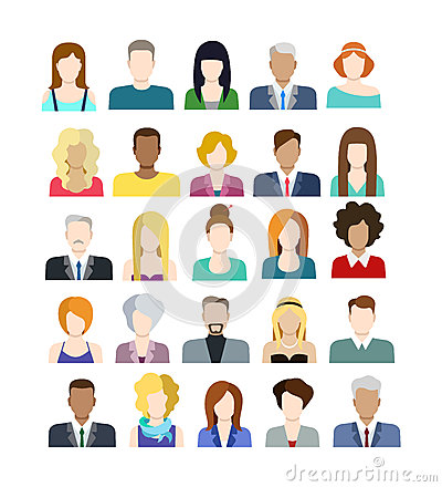 Free Set Of People Icons In Flat Style With Faces Royalty Free Stock Image - 50263076