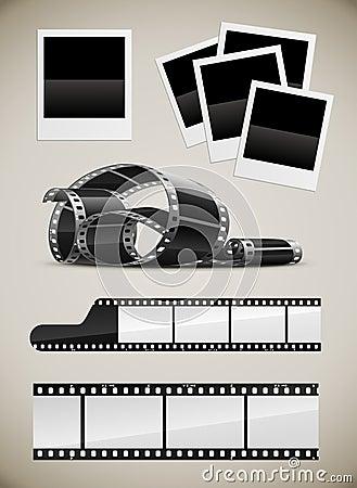 Free Set Of Photo Film And Polaroid Pictures Royalty Free Stock Photos - 16081668