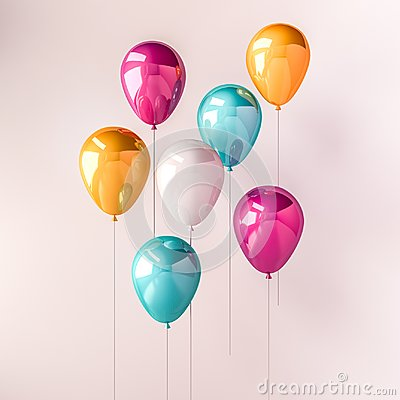 Free Set Of Pink, Blue And Orange Glossy Balloons On The Stick On Isolated White Background. 3D Render For Birthday, Party, Wedding Or Stock Photo - 110685210
