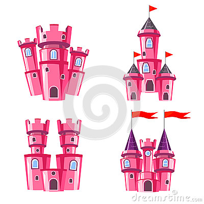 Free Set Of Pink Fairy Castles Stock Photo - 66163500