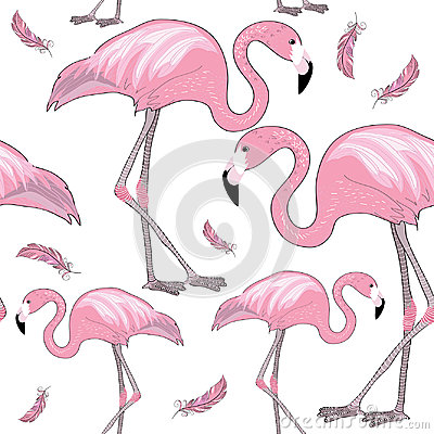 Free Set Of Pink Flamingos With Black Beaks With Pink Feathers Around Them. Seamless Pattern. Vector Illustration On White Background Stock Photography - 96213932