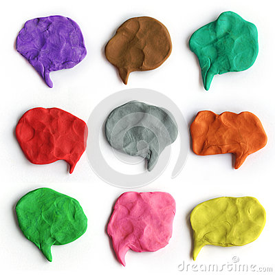 Free Set Of Plasticine Colorful Speech Bubbles. Modeling Clay Handmade Talk Clouds Royalty Free Stock Photo - 78363745