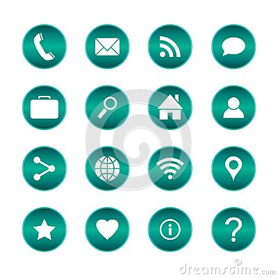 Free Set Of Popular Web Icons. Vector Circle Buttons With Basic Icons. Isolated Background. Royalty Free Stock Photos - 99412098