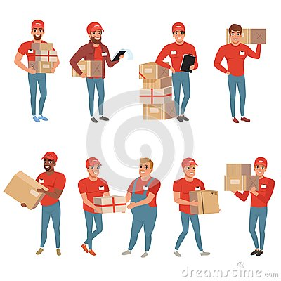 Free Set Of Postal Workers In Different Poses. Courier Or Delivery Service. Men Characters With Parcels Packages Boxes Stock Photography - 107724652