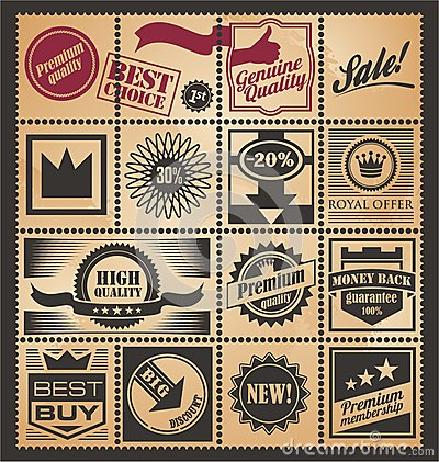 Free Set Of Promotional Retro Coupons, Labels And Tickets Royalty Free Stock Photos - 28681058