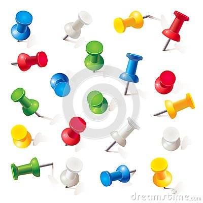 Free Set Of Push Pins In Different Colors. Thumbtacks Stock Photos - 36283273