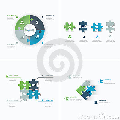 Free Set Of Puzzle Pieces Jigsaw Business Infographics Royalty Free Stock Photos - 42797158