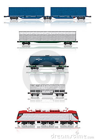 Free Set Of Railroad Cars With Electric Locomotive Stock Photo - 18080500