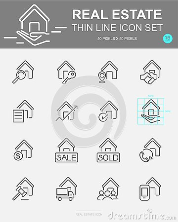 Free Set Of Real Estate Vector Line Icons. Includes House, Money, Business, Finance And More Stock Image - 133745571