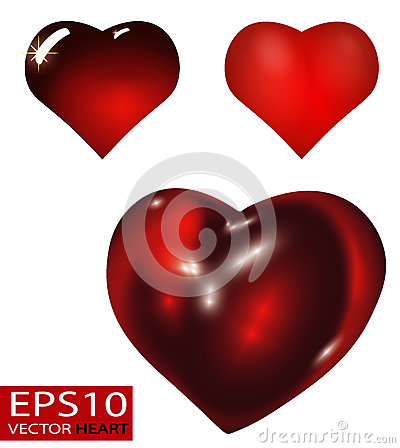 Free Set Of Realistic 3D Valentine Hearts Vector Stock Image - 85338261